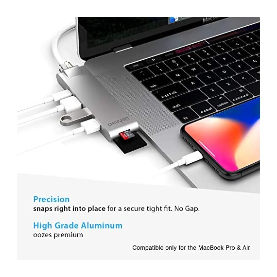 "CharJenPro USB C Hub for MacBook Pro 16"", 15"", 13"", 2020, 2019, 2018, MacBook Air 2020, 2019, 2018, 100W Power, HDMI 4K, 2 USB 3.0, microSD, SD Card Reader, USB C Port. USBC Adapter. 3 PREMIUM: Only for Apple MacBook Air 2018 - 2019, MacBook Pro 2016 - 2019. Compact HIGH-GRADE Aluminum body. Only versatile all in one you need. THUNDERBOLT 3 PORT (top USBC port): Charges laptop up to 100W. 5K@60Hz video output for Ultra HD. Transfers data up to 40Gbps. The 2nd USB C port is for DATA ONLY transfer up to 5Gbps. FAST PORTS: 2 USB 3.0 and 1 USB C port for external hard drives, flash/thumb drives, phones, tablets, printers, scanners, all USB devices. Speeds up to 5Gbps."