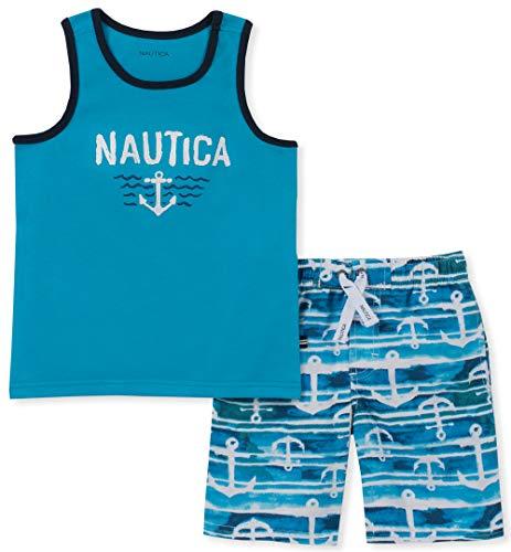 Nautica Baby Boys 2 Pieces Tank Top with Swim Shorts Set, Blue/Print, 18M