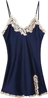 فستان نسائي من انجر تي، لانجري مثير حريري، بيبي دول برقبة على شكل V، ملابس نوم قصيرة مطرزة أزرق (ساتين) قياس واحد