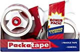 Packatape - Dispensador de Cinta Adhesiva (Incluye 2 Rollos de Cinta Fragile de Uso General, 48 mm x 66 m)