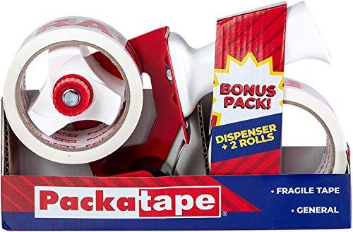 Packatape - Dispensador de Cinta Adhesiva (Incluye 2 Rollos de Cinta Fragile de Uso General, 48 mm x 66 m)
