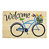 Avera Products | Welcome Bike with Flowers, Natural Coir Fiber Doormat, Anti-Slip PVC Mat Back