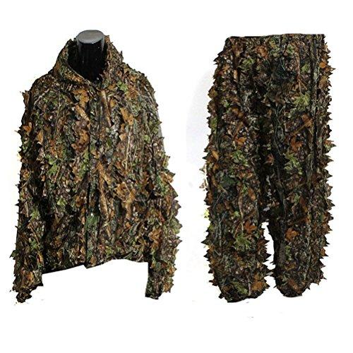 OULII Foglia del camuffamento Woodland Camo Ghillie Suit impostare 3D giungla caccia verde vestito
