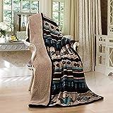 Nu Trendz Signature Southwest Design Sherpa Lined Throw Blanket 50'x 60' (tan)