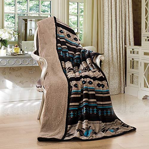 Nu Trendz Signature Southwest Design Sherpa Lined Throw Blanket 50'x 60'...