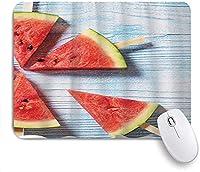 KAPANOU マウスパッド、ブルーウッドグレインスイカ夏の風景カラフル おしゃれ 耐久性が良い 滑り止めゴム底 ゲーミングなど適用 マウス 用ノートブックコンピュータマウスマット