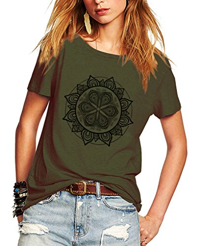 Romastory Womens Fashion Pattern Shirts Short Sleeve T-Shirt Casual Summer Top Tee (XXL, Army Green)