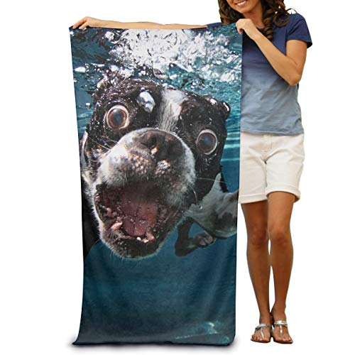 Toufeury Boston Terrier Towel French Bulldog Microfiber Beach Towel Wrap Lightweight Absorbent Quick-Drying SPA Towels Swimsuit Bath and Shower Towel Beach Gift Blanket for Women& Men,Girls&Boys