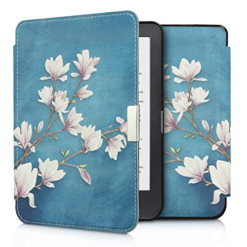 kwmobile Case for Kobo Clara HD - Book Style PU Leather Protective e-Reader Cover Folio Case - Taupe White Blue Grey