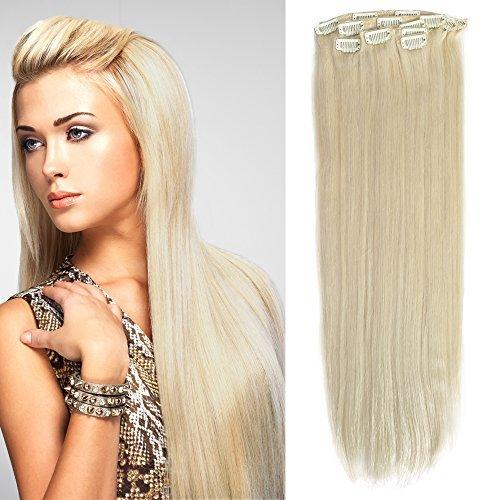 50,8 cm épais Remy Extension de cheveux humains 12 droite Clip Extension de cheveux (190, # 60 Blond platine)