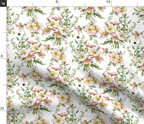 Spoonflower Fabric - Bee Roses Flowers Floral Chintz English Garden Printed on Petal Signature Cotton Fabric by The Yard - Sewing Quilting Apparel Crafts Decor