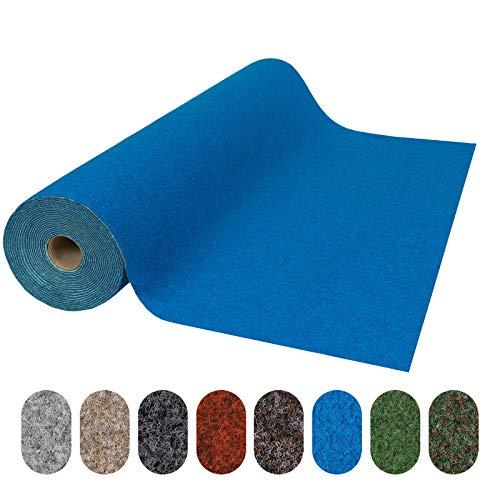 Rasenteppich Farbwunder Park | Balkonteppich | Strapazierfähig & witterungsbeständig | Erhältlich in 8 Farben | Kunstrasenteppich für Terrasse, Balkon und Freizeit | Outdoor (Blau, 100 x 300 cm)