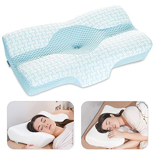 Elviros Cervical Pillow, Memory Foam Bed Pillows for Neck and Shoulder Pain Relief, Adjustable Ergonomic Orthopedic Contour Support Pillow for Sleeping, Back, Stomach, Side Sleeper (Blue)