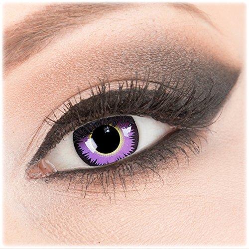 Farbige lila purple Crazy Fun Kontaktlinsen 1 Paar 'Maniac' mit Kombilösung (60ml) + Behälter - Topqualität von 'Evil Lens' zu Fasching Karneval Halloween ohne Stärke