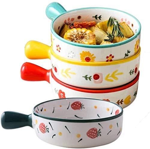 Bol Cuenco de Sopa de cerámica con Asas, un Conjunto de 4, 18 oz Pila de tazón con Patrones Dibujados a Mano, vitrocerámica, para Cereales, guisos