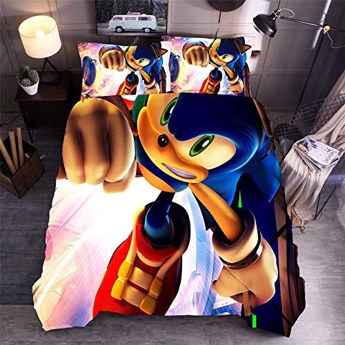 MYLZZ 3D Anime Sonic The Hedgehog Juego de ropa de cama infantil, funda nórdica de microfibra, con funda de edredón y funda de almohada (Y5,220 x 240 cm + 50 x 75 cm x 2)