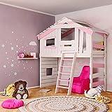 Jugend- und Kinderbett, Hochbett, Mädchenbett, Etagenbett, Spielhaus in zartem Creme-weiß/rosa...