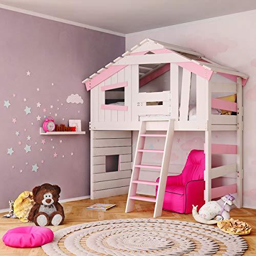 Jugend- und Kinderbett, Hochbett, Mädchenbett, Etagenbett, Spielhaus in zartem Creme-weiß/rosa (mit Türchen)