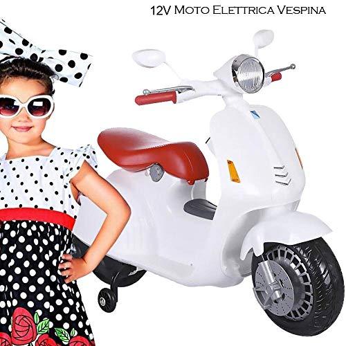 BAKAJI Moto Elettrica per Bambini Vespa VESPINA 12V Completa di Luci Suoni Colore Bianco