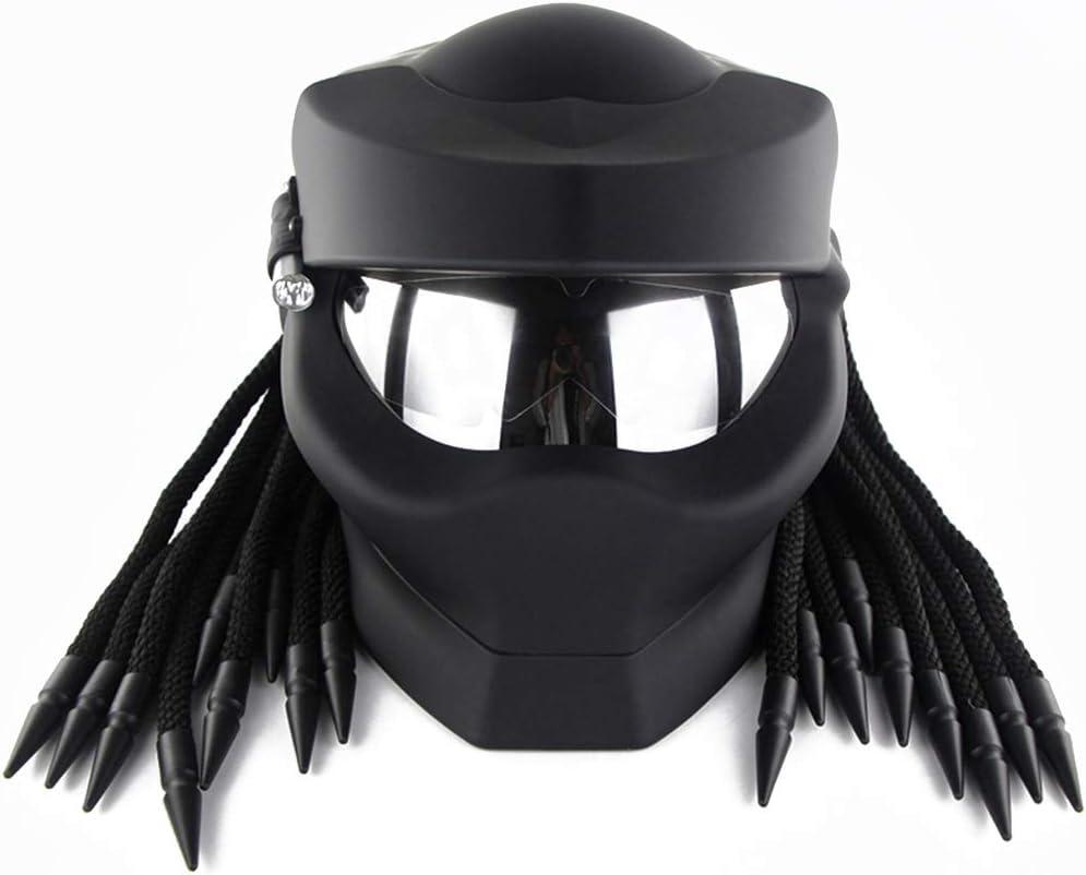 ZJRA Descubriendo casco de moto, casco de motocicleta Depredador, aprobado por DOT, pelo trenzado, cara abierta, casco de motocross, LED, mate, XL61~62cm