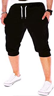 MK988 Men Gym Trainning Jogger Trousers Capri Drawstring Solid Shorts Sweatpants