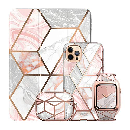 i-Blason Cosmo Pink Collection Bundle - iPhone 12 Pro Max 6.7', Apple Watch Series 6/SE/4/5 40mm, iPad 10.2' & AirPods Pro Case