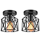 Industrial Ceiling Light Fixture 2 Pack, E26 Vintage Metal Semi Flush Mount Ceiling Light Fixtures, Rustic Cage Light Fixture for Kitchen Farmhouse Hallway Stairway, Black
