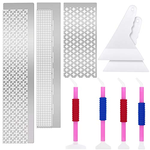3 Pieces Diamond Painting Ruler Stainless Steel Square & Round Diamond Mesh Ruler with 599, 520 and 699 Blank Grids, 2 Diamond Painting Fix Tool and 4 Diamond Drill Pen for 5D Diamond Painting