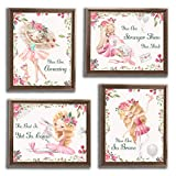 ETIUC Adorable Baby Girls Ballet Wall Art Prints Motivational Quotes Dance Girls Nursery Kids Room Bedroom Watercolor Unframed Wall Decor Pearl Paper Set of 4 Posters 8x10in