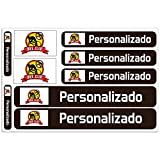 Haberdashery Online Kit 9 Pegatinas Personalizadas para Motos, automóviles o Bicicletas. Etiquetas con tu Bandera y tu Texto. Modelo: Negro
