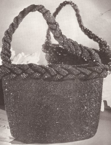 Vintage Crochet PATTERN to make - 1940s Vintage Crocheted Beaded Bag Purse Handbag. NOT a finished item. This is a pattern and/or instructions to make the item only.