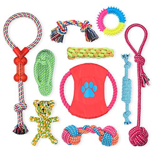 Fairycity Juguetes de cuerda para perros para masticadores agresivos, perros pequeños, medianos, evitar el aburrimiento, ansiedad, juguetes interactivos para dentición, juego de 10