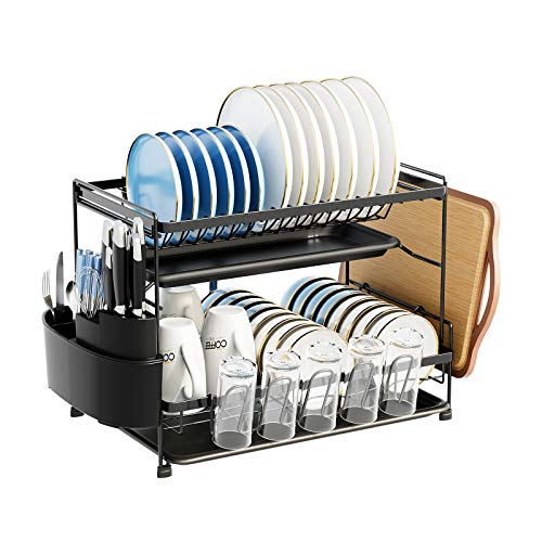 2-Tier Drying Dish Rack with drainboards for Kitchen Countertop,Counter - Dish Drying Rack Organiser Set,3 Pieces (Black, large 2 tier)