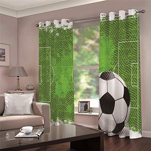ARTEZXX Vorhang blickdichte Fußball mit Ösen 2 x 75 x 166 cm Verdunkelungsvorhänge Isolierung, Dekorative und Undurchsichtig, Schutz der Privatsphäre für Zimmer