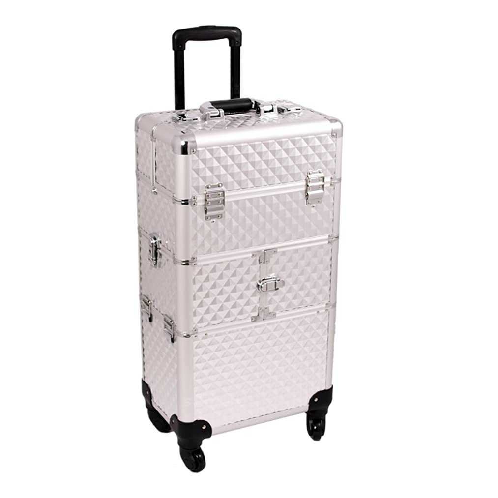 Craft Accents I3164 Diamond Trolley Craft/Quilting Storage Case, Silver