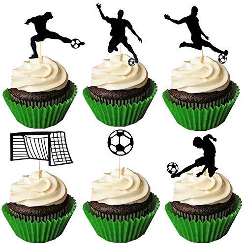 JeVenis - Set di 24 decorazioni per cupcake a forma di pallone da calcio, per cupcake, per calcio, feste, sport, feste
