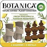 Air Wick Botanica Plug in Scented Oil Starter Kit, 2 Warmers + 6 Refills, Fresh Pineapple and Tunisian Rosemary, Air Freshener, Eco Friendly, Essential Oils, Starter Kit + 6 Refills