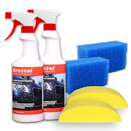 Brestol Insektenentferner Set2-2X 750 ml gebrauchsfertig, 2X Fahrzeugschwamm, 2X Insektenschwamm - Insektenlöser Polycarbonat geeigneter Vogelkotentferner Spezialreiniger alkalisch