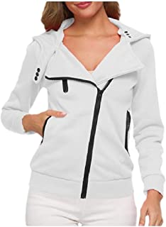 Howely Women Trim-Fit Hooded Coat Plus Velvet Thick Sweatshirts Zipper Jacket