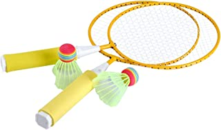 BinaryABC Colored Badminton Racket Set, Beginner Training Outdoor Sports Leisure Toys, Kids Play Game Toy(Yellow)