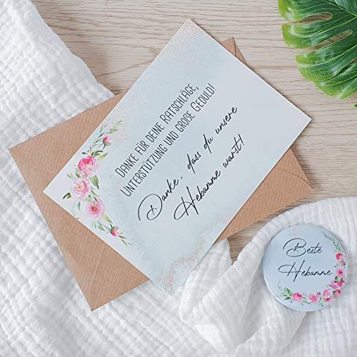 Dankeschön Set für die Hebamme | Geschenk - Dankeskarte und Magnet-Button