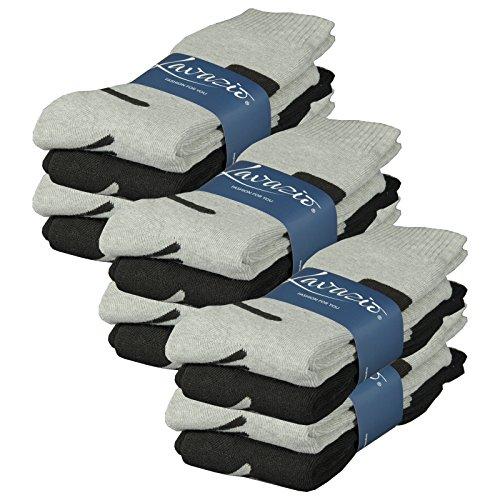 Lavazio® 6 | 12 | 18 | 24 Paar Herren Arbeitssocken Sportsocken Thermo Socken dick und herrlich schwarz/grau, mehrfarbig, grau/blau Töne, Größe:43-46, Farbe:schwarz/grau - als 12 Paar Packung