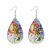 Copper Plated Silver Earrings Decorative Colorful Cock Teardrop Earrings MDF Material(0na5e)