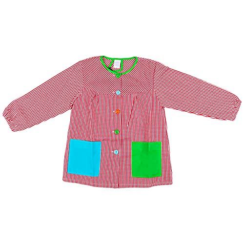 H HANSEL HOME Bata Escolar Infantil Baby Infantil de Cuadros Pequeños (Rojo, 4-5 años)