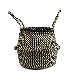 BlueMake Woven Seagrass Belly Basket for Storage Plant Pot Basket and Laundry, Picnic and Grocery Basket (Small, Black Strips) 7 Size (approx.): S: 22 * 20cm / 8.66 * 7.87in Natural seaweed, handmade products, each basket will be a little different. This is not machine made. Multi-purpose: decoration, creative storage, picnic, grocery basket, beach bag, plant basin cover, toy storage box, etc.Perfect in every corner of the house, hallway, living room, children's room, bathroom, balcony space.