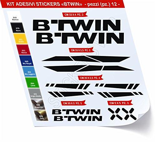 Adesivi Bici BTWIN_Kit 2_ Kit Adesivi Stickers 12 Pezzi -Scegli SUBITO Colore- Bike Cycle pegatina cod.0480 (Nero cod. 070)