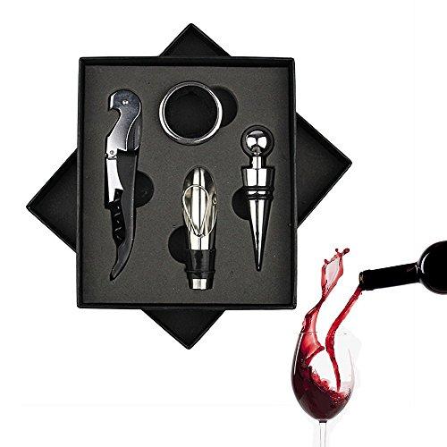 Fltaheroo 4 Piezas/Juego de Abrelatas de Acero Inoxidable para Vino Tinto Vertedor de Anillo del Vino Tapon de Botella Cuchillo de Hippocampus Abrebotellas de Vino Negro