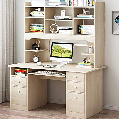 NANMU Scrivania per Laptop/Scrivania Scrivania per Laptop con Cassetto Libreria,Bianca