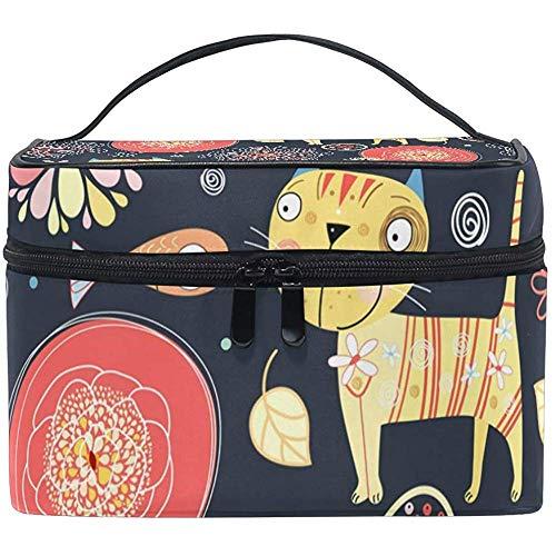 Cosmetic Bag, Cartoon Cats Travel Makeup Organizer Bag Cosmetic Case Portable Train Case for Women Girls