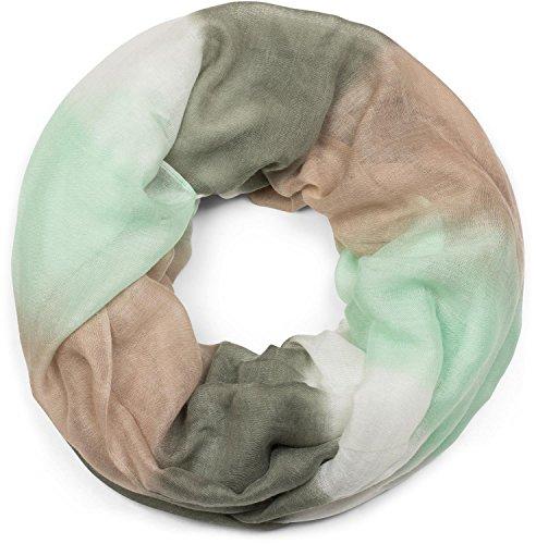 styleBREAKER Loop Schal mit Streifen Farbverlauf Muster, Schlauchschal, Tuch, Unisex 01018097, Farbe:Mint-Beige-Oliv